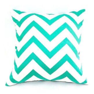 NEW Aqua & White Cotton Zigzag Chevron Square Cushion Cover. Exc Cond