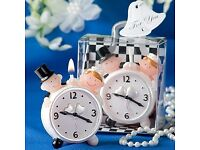 Bride & Groom alarm clock candle wedding favor - £2.45 Plus P&P