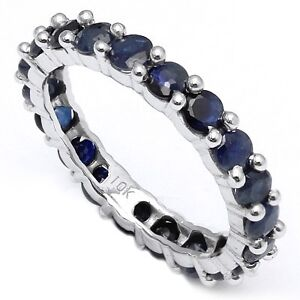 ALLURING 3.17 CT GENUINE SAPPHIRE 10K SOLID WHITE GOLD RING