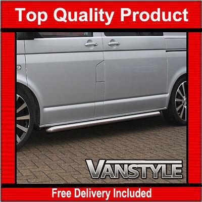 VW T5 TRANSPORTER SWB SPORTLINE SIDE BARS OEM QUALITY 60MM STAINLESS VAN STEPS