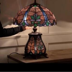 """NEW TIFFANY STYLE DOUBLE LIGHT LAMP - 126038471 - 16"""" RAVEN TABLE LAMPS POLYRESIN BASE STAINED GLASS LIGHTS LIGHTING ..."""