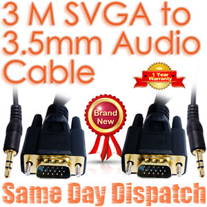 3M S-VGA 15 Pin 3.5MM Jack to PC LCD HD TV Sky AV Audio Video Graphic Cable Lead