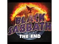 BLACK SABBATH - DOWNSTAIRS STANDING - MANCHESTER ARENA - SUN 22/01 - £130!