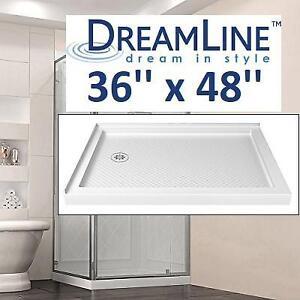 NEW DREAMLINE 36''x48'' SHOWER BASE DLT-1036481 186132520 DOUBLE THRESHOLD WHITE