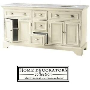 "NEW* HDC SADIE 67"" DOUBLE VANITY - 127622349 - HOME DECORATORS COLLECTION - ANTIQUE CREAM - W/MARBLE TOP IN WHITE BAT..."