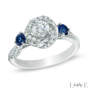Vera Wang LOVE Collection 5/8 CT. T.W. Diamond and Blue Sapphire