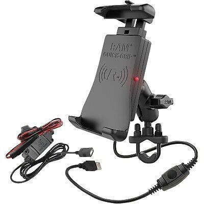 Ram Mounts Quick-Grip Waterproof Wireless Charging Holder w/ Hardwire Charger