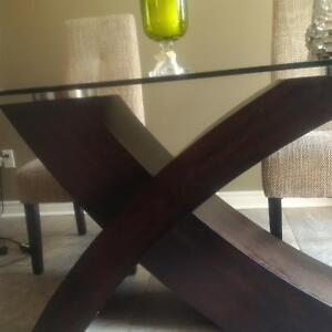 solid glass tdining room table with wood base Belleville Belleville Area image 1