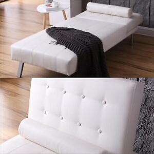New White Button Tufted Back Convertible Chaise Lounger !