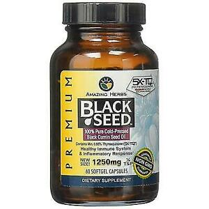 1250mg Amazing Herbs Premium Black Seed Oil Cold Pressed 60