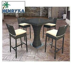NEW* HENRYKA 5 PC PATIO BAR SET 16202 Set 246160139 BROWN PVC WICKER GLASS TOP  PATIO FURNITURE