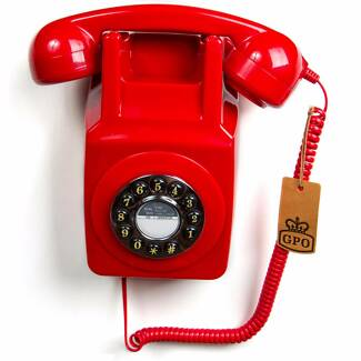 GREAT BRIGHT RED  PHONE WALL  PUSH BUTTON