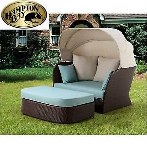 NEW* HAMPTON BAY PATIO DAY BED - 118673708 - DEERFIELD ALL WEATHER WICKER WITH CUSHIONS AND OTTOMAN