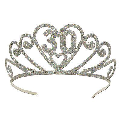 30th Glittered Metal Tiara