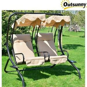 NEW* OUTSUNNY PATIO DOUBLE SWING OUTDOOR GARDEN DOUBLE SWING WITH FRAME 109556252