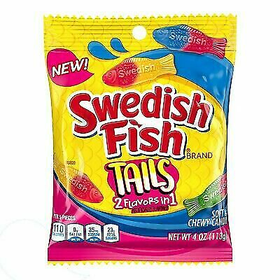 Blue Swedish Fish (SWEDISH FISH  3 X 4 oz Bags TAILS Soft+Chewy Candy 2 FLAVORS IN 1 Fat Free)