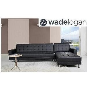 NEW* WADE LOGAN SLEEPER SECTIONAL 160828258 BLACK PU LEATHER