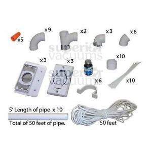 Central Vacuums 3 Inlet Kit, With Round Door Inlet White & 50' Pipe