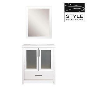 NEW* STYLE SELECTIONS VANITY SET CBLW130M-SS 212170421 BATHROOM BELLWORTH WHITE SINGLE SINK MIRROR MARBLE TOP 30''