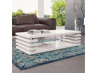 High-Gloss White Pikal Coffee Table,Scratch-Resistant