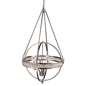 HUGE CHROME & CRYSTAL 6-LIGHT PENDANT by TransGlobe