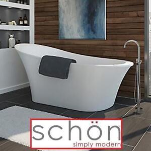 "NEW SCHON AIDEN 5'8"" SOAKING TUB - 131989578 - REVERSIBLE DRAIN WHITE BATH TUBS BATHTUBS BATHTUB BATHROOM FREESTANDIN..."