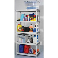 5 tier resin shelf and rubbermaid storage container