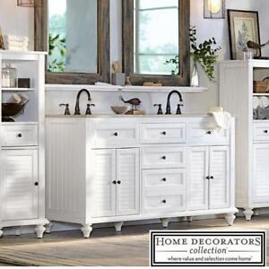 "NEW HDC 61"" HAMILTON VANITY COMBO - 130811707 - HOME DECORATORS COLLECTION ANTIQUE WHITE CABINET GREY GRANITE TOP BAT..."