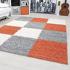 Large Shaggy Carpet Size: 200cm x 290 Colours: Orange, Grey, White
