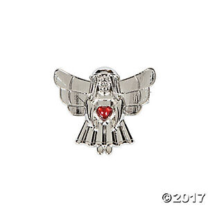ANGEL WITH GEMSTONE HEART PIN