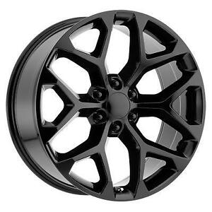 20 Wheel Set 2019 Ram Silverado GMC Sierra Tahoe Yukon  Cadillac Escalade Gloss Black Wheels 6x139.7 20x9 +24mm 20 Rim