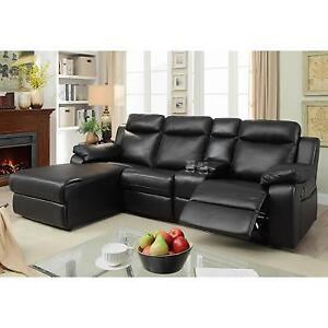 2 PC Black Sectional with Recliner and Console (MA314)