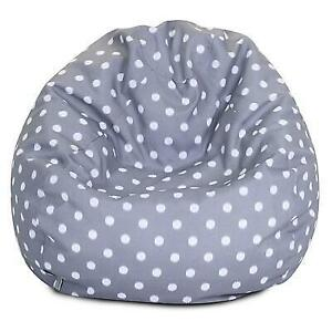 (DI19) New Majestic Home Goods Indoor/Outdoor Ikat Dot Polyester Small Classic Bean Bag Chair, Gray