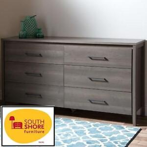NEW SOUTH SHORE 6-DRAWER DRESSER - 109636976 - DOUBLE DRESSER - GREY MAPLE- GRAVITY