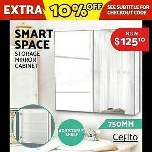Cefito 750MM x720MM Bathroom Vanity Mirror Cabinet Shaving Stor