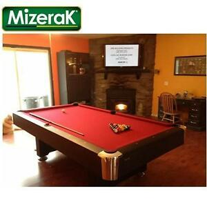 NEW MIZERAK 8' POOL TABLE - 122288185 - INCLUDES 2 CUES BALLS AND CHALK
