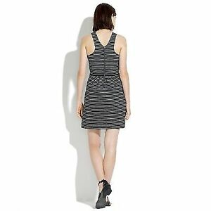 Madewell Pierside Zip-Back Dress In Stripe Black and White