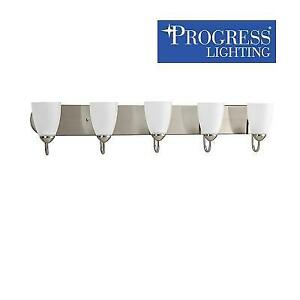NEW 5 LIGHT VANITY LIGHT FIXTURE P2713-09 224502613 PROGRESS LIGHTING GATHER BRUSHED NICKEL ETCHED GLASS SHADES