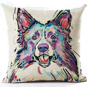 Brand New- Artsy- Border Collie Decorative Pillow Cover