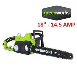NEW GREENWORKS ELECTRIC CHAINSAW - 124331539 - 18'' 14.5 AMP