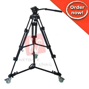 PROFESSIONAL-VIDEO-TRIPOD-WITH-FLUID-DRAG-HEAD-PROFESSIONA-DOLLY-NEW