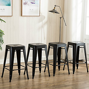 26 Inch Backless Metal Counter Height Bar Stools Set Of 4 Vintage Tolix Chairs