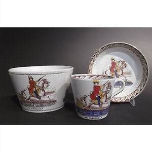 Victorian King William Hand Painted Cup, Saucer and Bowl