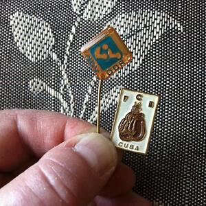 1976 MONTREAL OLYMPICS Two Boxing Pins CUBA and EAST GERMANY