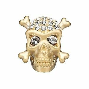 Story Jolly Roger Button 14k Gold Plated - charm Skull charm têt