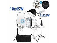 Photography Studio 5 Head Light Softbox Lighting Umbrella Stand Backdrop Kit Set