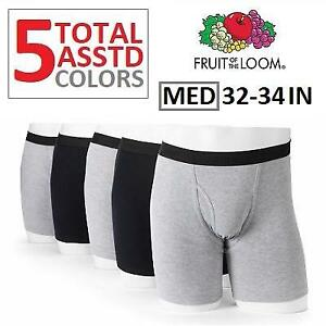 NEW 5PK BOXER BRIEFS MENS MED 256300065 FRUIT OF THE LOOM SIGNATURE BLACK GRAY