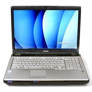 toshiba satellite p205 c2d 17 inch 4gb 250gb webcam win7 160$