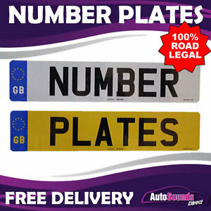 Pair Standard GB Euro Number Plates 100% MOT Compliant - ROAD LEGAL