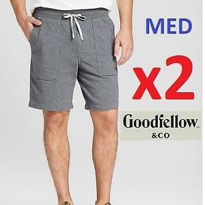 2 NEW KNIT SHORTS MENS MED 539553 240244578 GOODFELLOW AND CO RAILROAD GRAY